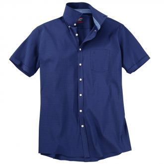 Kurzarmhemd mit dezenter Struktur blau_100 | 3XL