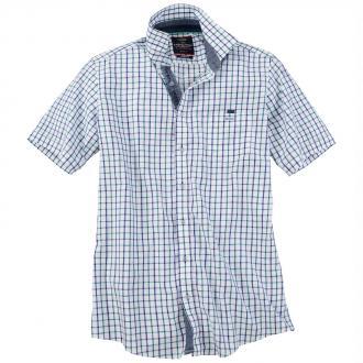 Kariertes Kurzarmhemd mit Stretch-Anteil blau/weiß_1000 | XXL