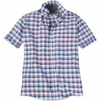 Kariertes Freizeithemd mit kurzem Arm blau_100 | 4XL