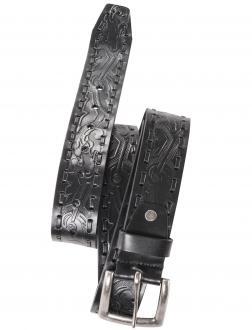 Aufwendig gearbeiteter Ledergürtel schwarz_99   120