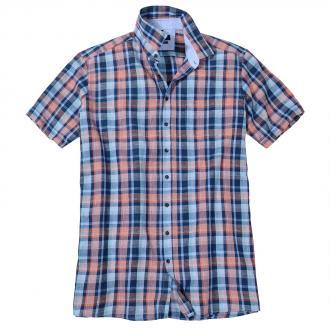 Leinenhemd mit maskulinem Karomuster, kurzarm blau/rot_400/4050 | 3XL