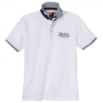 Modisch strukturiertes Poloshirt mit Farbakzenten weiß/weiß_000 | 3XL