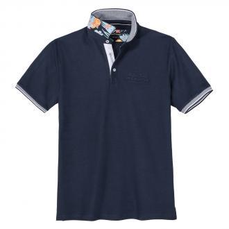 Modisch strukturiertes Poloshirt mit Farbakzenten dunkelblau_147   3XL