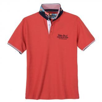 Modisch strukturiertes Poloshirt mit Farbakzenten rot_409 | 3XL