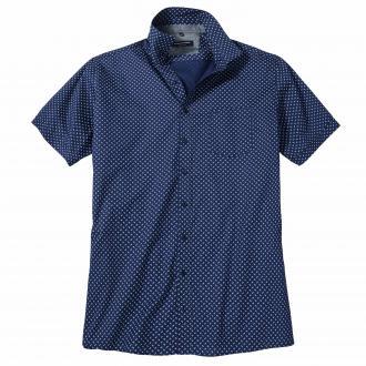 Vielseitiges Freizeithemd mit modischem Allover-Print, kurzarm dunkelblau_100/400   XXL