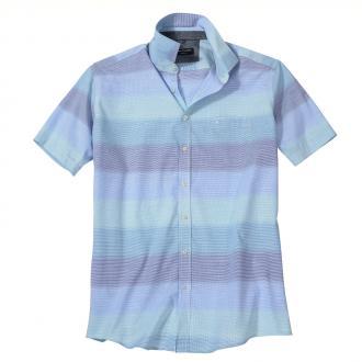 Freizeithemd mit harmonischem Farbverlauf, kurzarm blau/türkis_301/4045 | XXL
