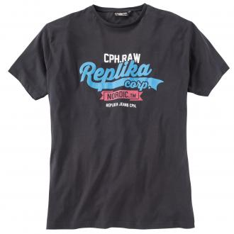 "T-Shirt mit ""Replika""-Druck schwarz_099 | 3XL"