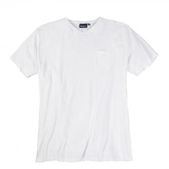 T-Shirt mit V-Ausschnitt und Brusttasche weiß_0000 | 3XL