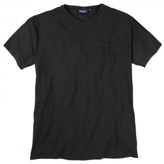 T-Shirt mit V-Ausschnitt und Brusttasche schwarz_0099   3XL