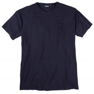T-Shirt mit V-Ausschnitt und Brusttasche dunkelblau_0580 | 3XL