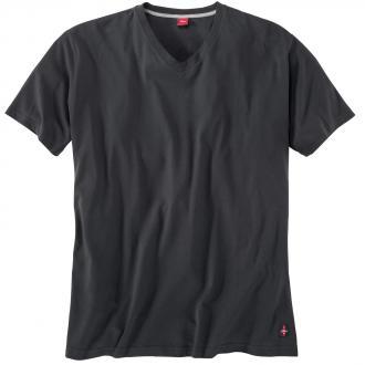 Basic T-Shirt mit V-Ausschnitt schwarz_9999 | 3XL