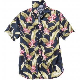 Freizeithemd mit floralem Muster blau/weiß_902 | 5XL