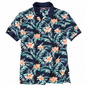 Sommerliches Poloshirt mit floralem Muster marine_902000 | 3XL