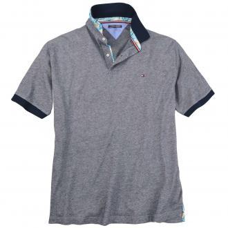 Hochwertiges Poloshirt in melierter Optik dunkelblau_403 | 3XL