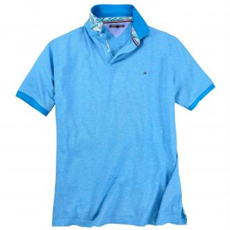 Hochwertiges Poloshirt in melierter Optik azur_436 | 3XL