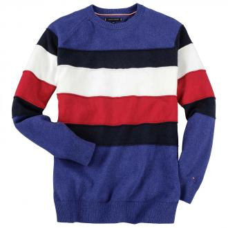 Legere Pullover in markanter Colour-Blocking-Optik blau_4360 | 3XL