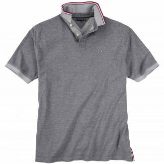 Meliertes Poloshirt mit ansprechenden Details. kurzarm grau_056   3XL