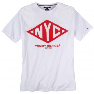 Auffallendes T-shirt mit Kontrastmaterial weiß_100 | 3XL