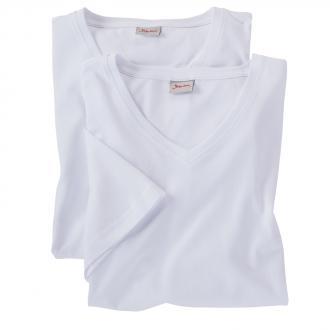 T-Shirts im Doppelpack mit V-Ausschnitt weiß_100 | 3XL