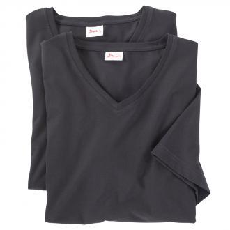 T-Shirts im Doppelpack mit V-Ausschnitt schwarz_999 | 3XL