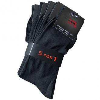 5er-Pack Socken mit extra weichem Rand schwarz_190 | 47-50