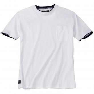 Rundhals-T-Shirt mit Brusttasche weiß_16 | 4XL