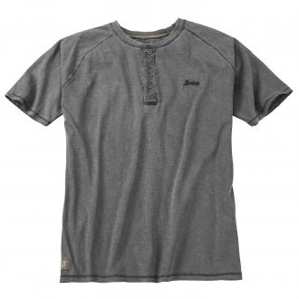 T-Shirt mit Knopfleiste im Vintage-Look schwarz_15 | 4XL