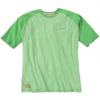 T-Shirt 2-farbig mit Rundhalsausschnitt apfelgrün_8610 | 3XL