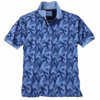 Modisches Poloshirt mit Palmen-Print mittelblau_2860 | 3XL