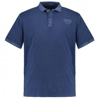 Strukturiertes Poloshirt, kurzarm jeansblau_189   6XL