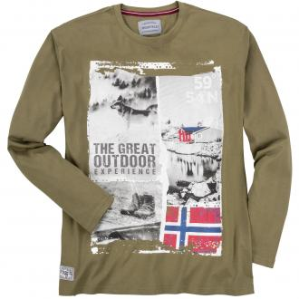 "Lässiges Langarmshirt mit großem ""Outdoor""-Print khaki_8110   5XL"