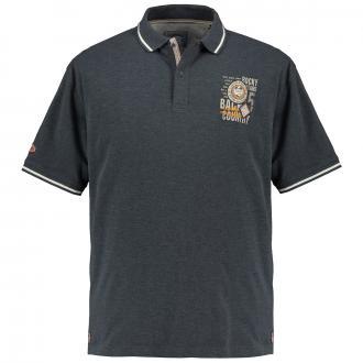 Poloshirt mit kleinem Brustprint grau_716 | 6XL