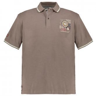 Poloshirt mit kleinem Brustprint braun_819   4XL