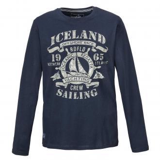 "Baumwoll-Langarmshirt mit Frontprint ""Iceland"" dunkelblau_547/400 | 3XL"