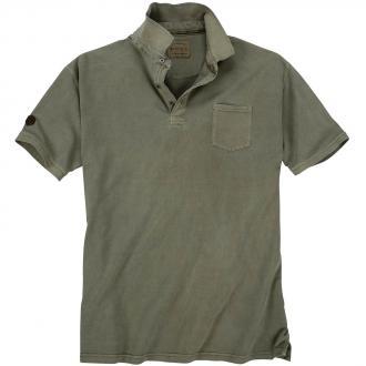 Modisch verwaschenes Poloshirt mit Brusttasche, kurzarm oliv_81100   5XL