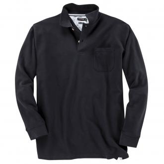 Pique-Langarm-Poloshirt schwarz_15 | 3XL