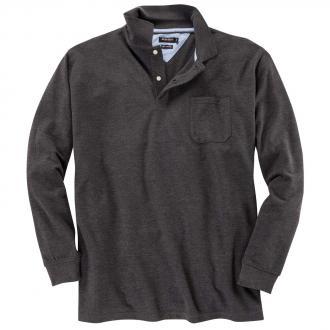 Pique-Langarm-Poloshirt grau_22 | 6XL