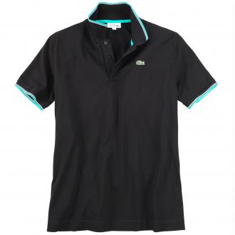 Poloshirt mit farblichen Akzenten, kurzarm schwarz_BQ4 | 4XL