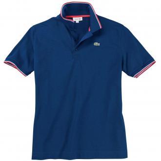 Poloshirt mit farblichen Akzenten, kurzarm mittelblau_HZD | 3XL