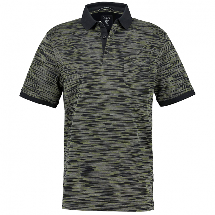 Mehrfarbiges Poloshirt aus mercerisierter Baumwolle, kurzarm schwarz_100 | 6XL