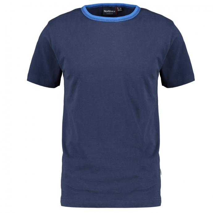 Basic T-Shirt mit konstrastfarbenem Kragenband dunkelblau_580 | 3XL