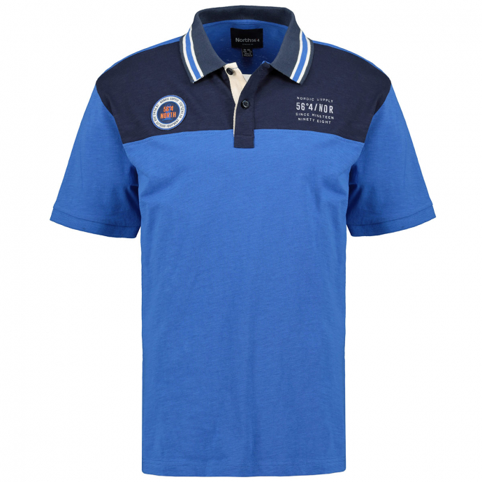 "Poloshirt mit ""56°4 NORTH""-Aufnäher, kurzarm blau/dunkelblau_0540 | 3XL"