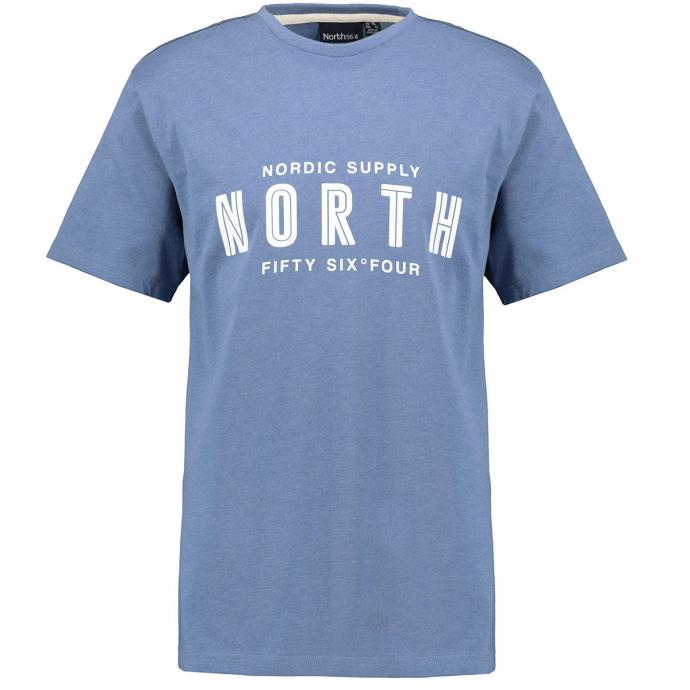 "T-Shirt mit gummiertem ""NORTH Fiftx Six°Four""-Print blau_0555 | 5XL"
