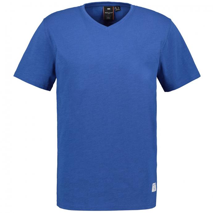 Basic T-Shirt mit V-Ausschnitt kornblau_0565 | 5XL