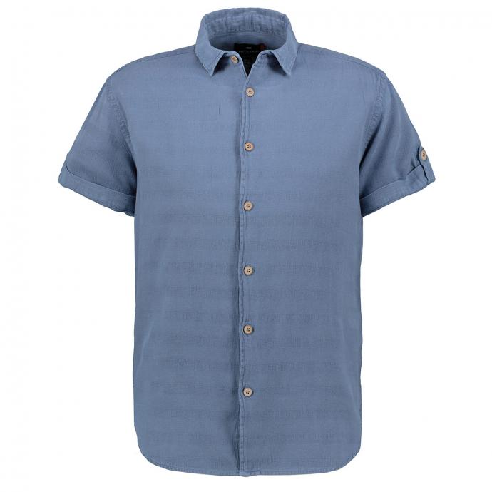 Modisches Hemd im Strukturmix, kurzarm mittelblau_0585 | 3XL