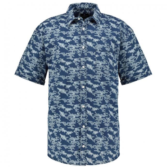 Gemustertes Freizeit Hemd, kurzarm blau_0930/40 | 3XL
