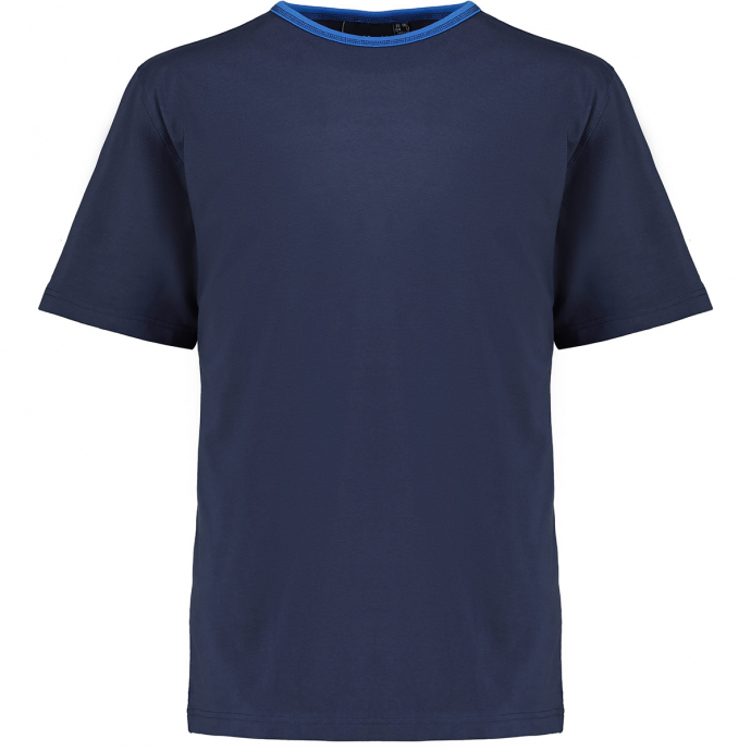 T-Shirt mit kontrastfarbenem Kragen dunkelblau_0580 | 5XL