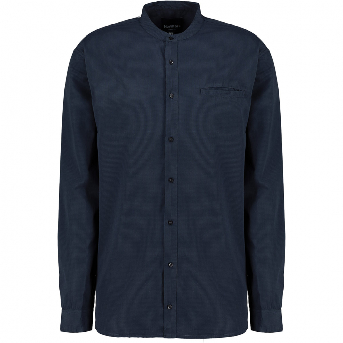 Fein kariertes  Stehkragenhemd, langarm dunkelblau_0920 | 5XL
