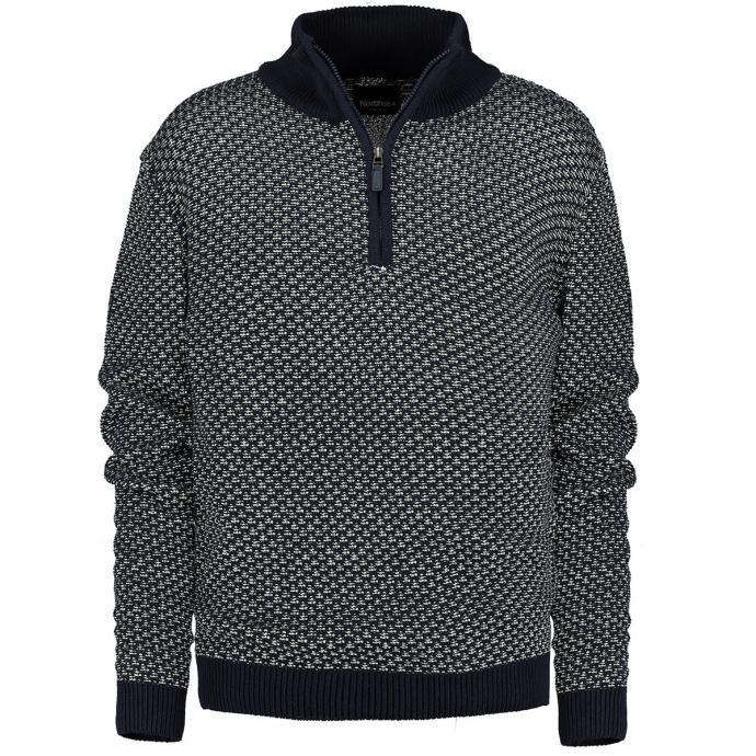 Pullover mit Troyerkragen blau/weiß_0580/4020 | 3XL