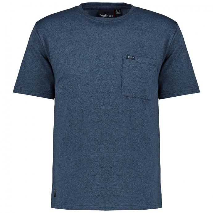 Meliertes Baumwoll-Shirt blau_0555 | 7XL